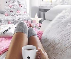 christmas, pink, and coffee image