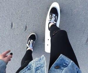 vans, skate, and black image