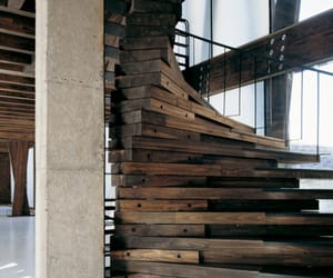 stairs, wood, and architecture image