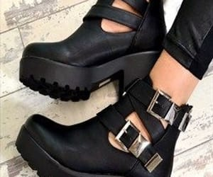 girl, black, and shoes image