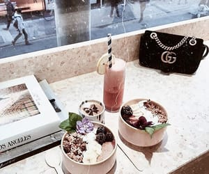 bag, drinks, and eat image
