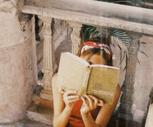 book, girl, and red image