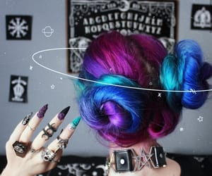hair, background, and galaxy image