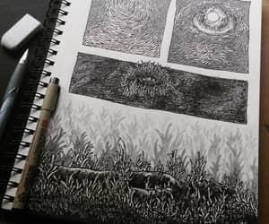 art, blackandwhite, and creepy image