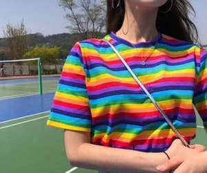 girl, outfit, and rainbow image