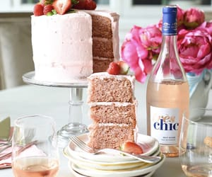 cake, champagne, and dessert image
