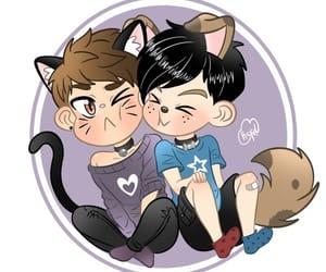 dan and phil, cute, and phanart image