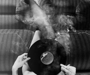 smoke, music, and black and white image