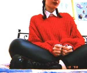 black, dr martens, and leather leggins image