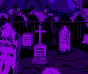 cemetery, pixel art, and gif image
