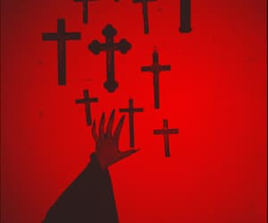 Christ, red aesthetic, and demons image