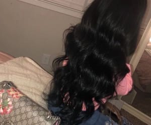 hair, black, and long image