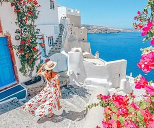 blue, Greece, and pink image