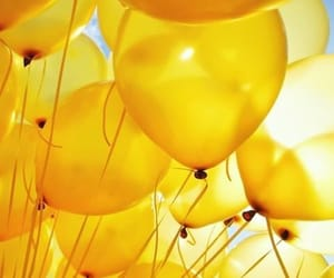 yellow, balloons, and aesthetic image
