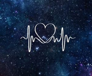 wallpaper, heart, and galaxy image