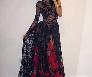 red prom dress, lace prom dress, and black lace prom dress image