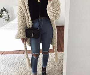 booties, jeans, and cardigan image