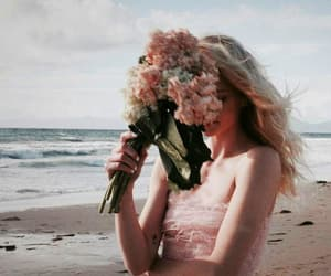 flowers, beach, and girl image