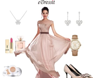 simple evening dress and pleated bridesmaid dress image