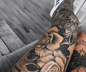 flowers, leg, and Tattoos image