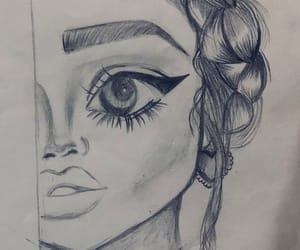 b&w, draw, and eyeliner image