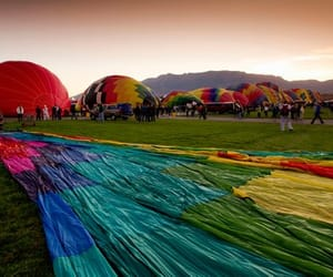 hot air balloon, new mexico, and sunset image