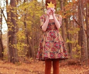autumn, girl, and dress image