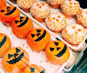 Halloween, pumpkin, and cupcake image