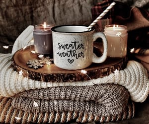 candle, coffee, and sweater image