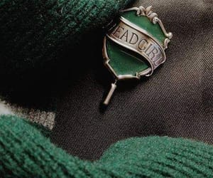 green, slytherin, and hogwarts image