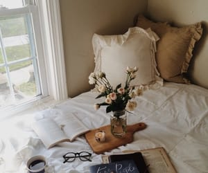 bed, flowers, and home image