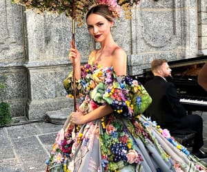 floral, gown, and runway image