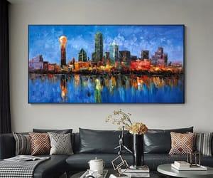 Abstract Painting, cityscape, and Dallas image