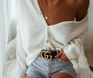 blogger, gucci belt, and short jeans image