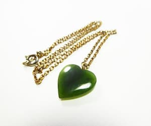 chain necklace, sterling silver, and green jade image