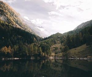 lake, mountains, and woods image