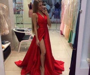 red, sexy Girl, and red prom dresses image