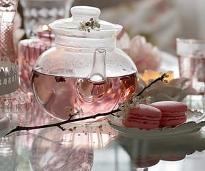 tea, pink, and food image