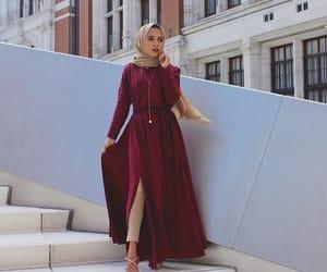 beige, burgundy, and hijab image