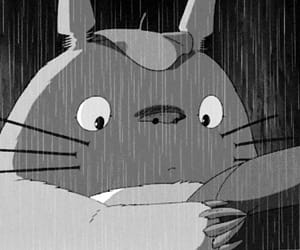 animated, black and white, and ghibli image