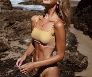 beach, blonde, and fit image