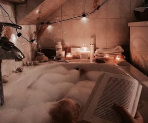 bubbles, bath, and book image