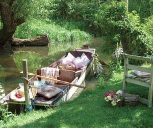 picnic, boat, and nature image