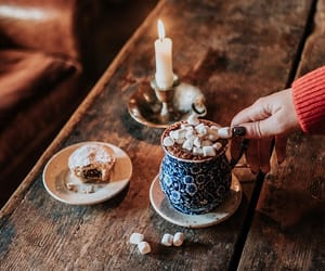 hot ​chocolate, autumn, and candle image
