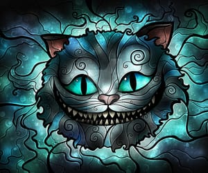 alice, Cheshire cat, and stained glass image