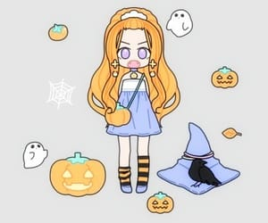 chibi, Halloween, and wallpaper image