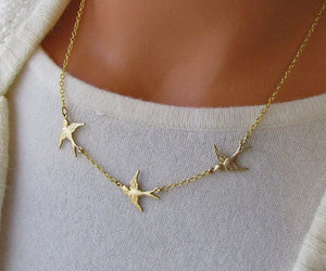 bird, necklace, and gold image