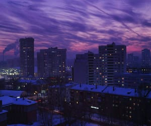 purple, city, and sky image