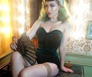 boudoir, gothic, and green hair image
