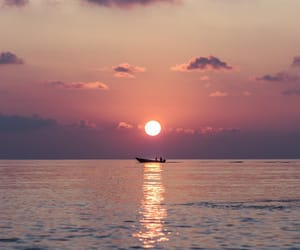 photography, sea, and sunset image